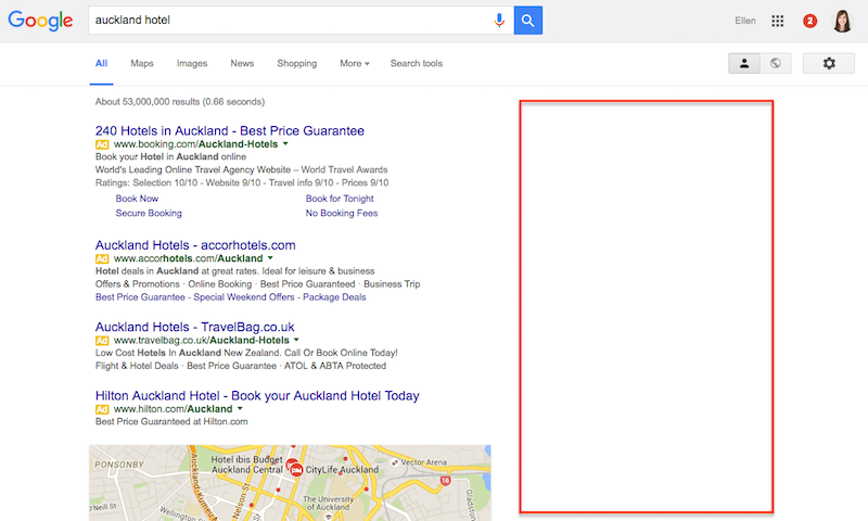 Empty Right Hand Side Google Adwords